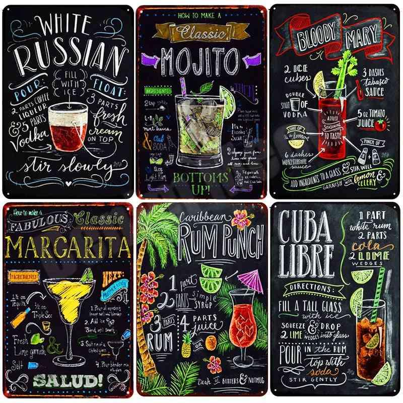 Tiki Bar Open Summer Beer Retro Metal Tin Signs - Art Stickers Wall Decor
