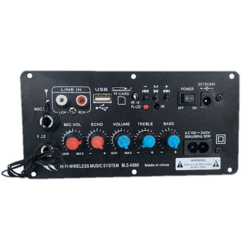Ac 220v 12v 24v Digital Bluetooth Stereo Amplifier Board, Subwoofer Dual Microphone Karaoke Amplifiers For 8-12 Inch Speaker
