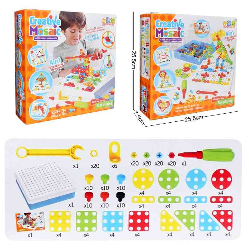 Children Electric Drill, Nut Disassembly Match Tool Assembled Blocks Sets Educational For- Building Design