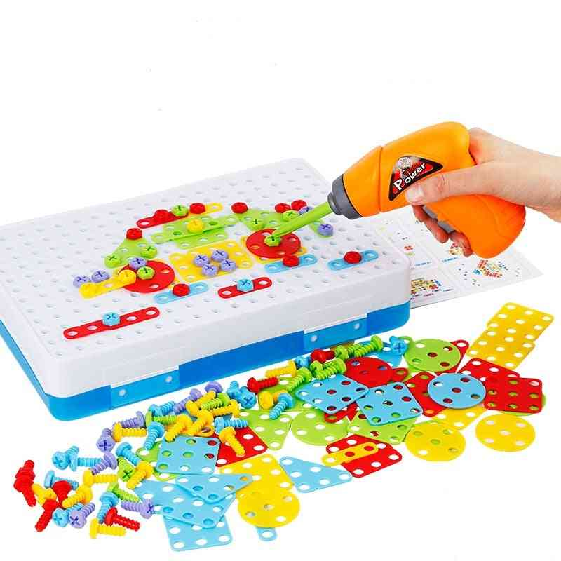 Creative Mosaic Puzzles Play Set- Screw Nuts Tools Building 3d Puzzles For