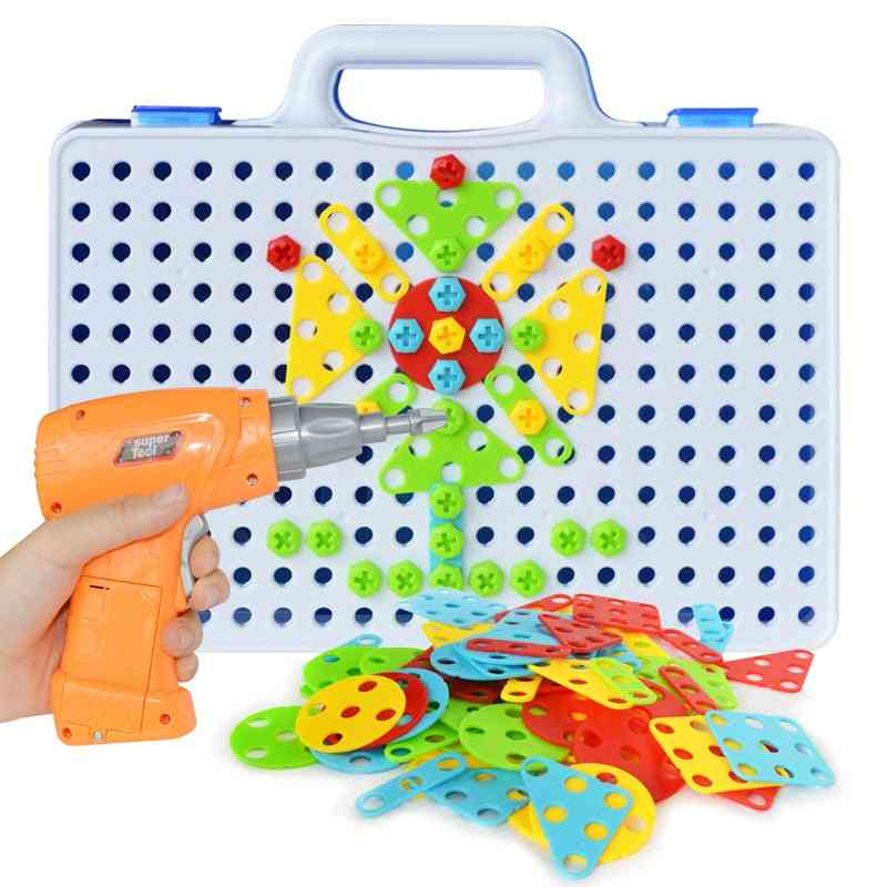 Creative Kids Electric Drill, Assembled Match Tool -building Blocks