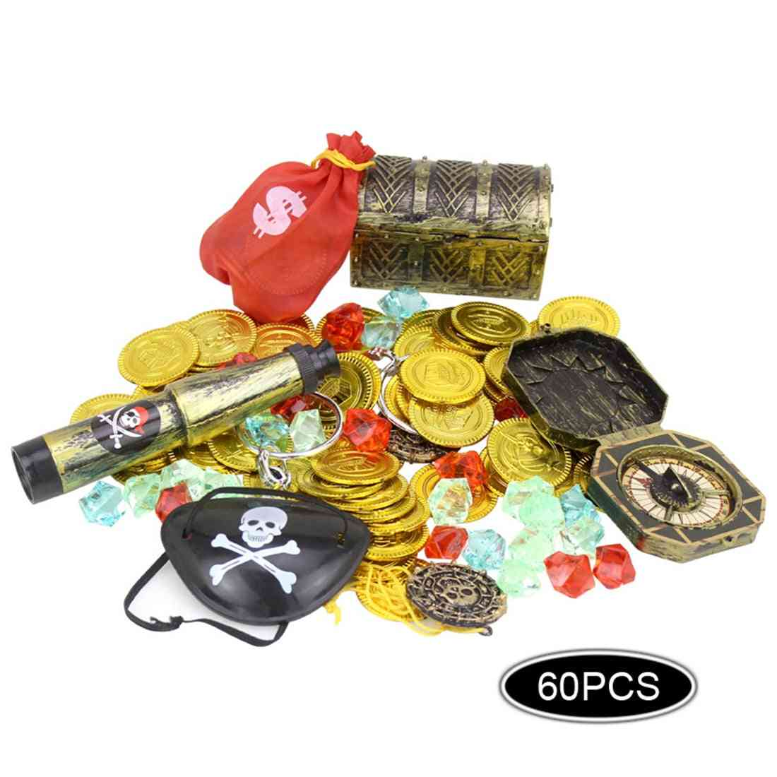 60pcs Pirates  Set Pirate Cover Gold Coins Pirate -treasure Box Kid's Party Supply