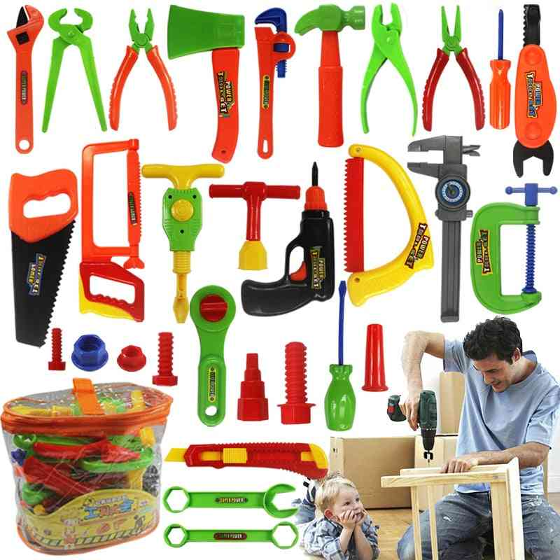 34pcs/set Toy Repair Tools- Ax Carpentry Plastic Simulation Tools For, Early Learning Educational