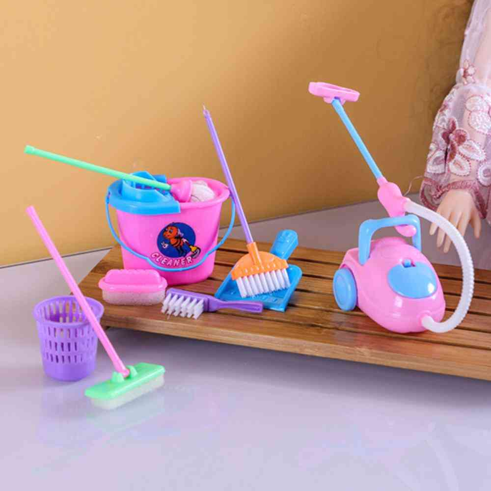 Funny Dolls, Furniture And Cleaning Kit Set Toy For