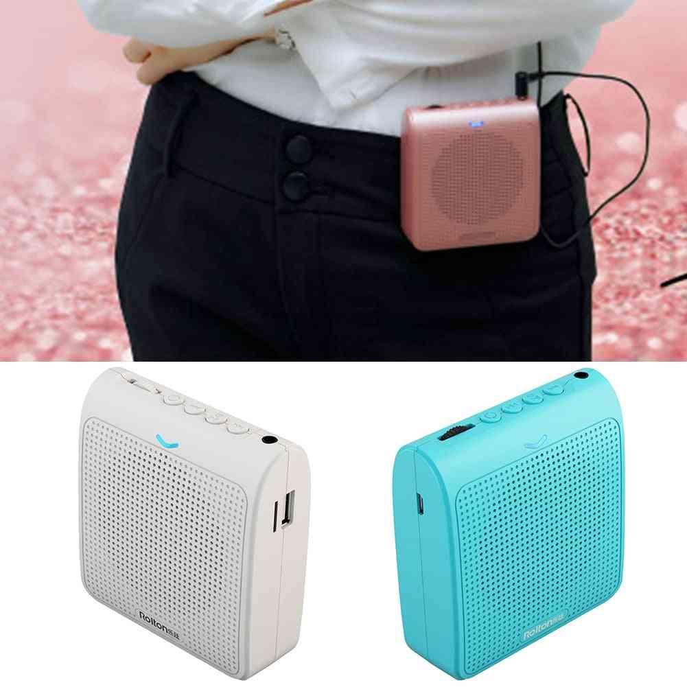 Speech Indicate Light Card Insert Microphone Brass -usb Charging, Mini Portable, Voice Amplifier With Waist Belt