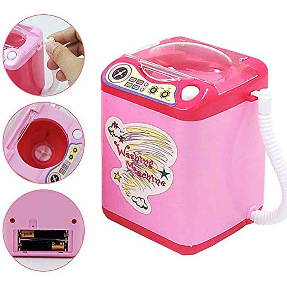 Simulation Battery Operated Kids Automatic- Simulated Mini Washing Machine Toy Brush Cleaning Housekeeping Electric Pretend Play