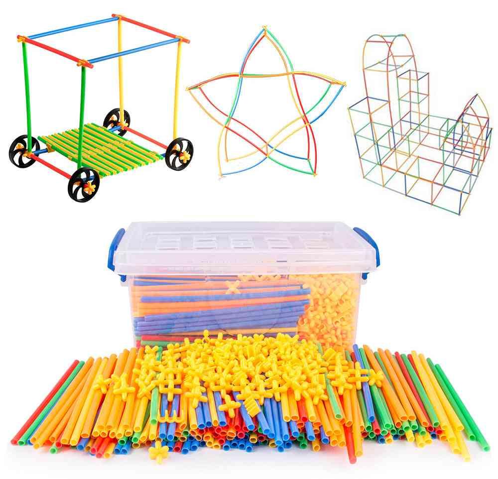 4d Straw Building Plastic Splice Assembled Blocks Educational