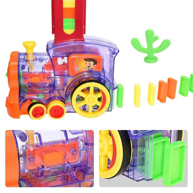 Kids Domino Train Car Set -automatic Laying Game
