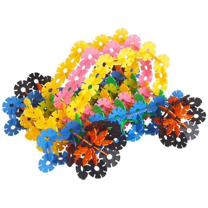 150pcs/pack Multicolor Montessori Snowflake Building Blocks Toy- Educational For (150 Pcs Multi-color)