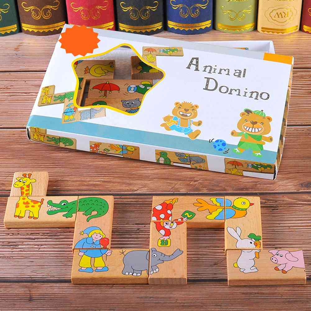 Wooden Animal Domino Puzzle For - Educational Toy