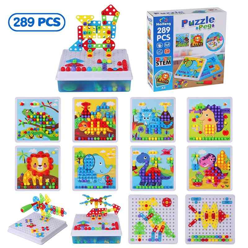 289pcs Drill Screw Group Toy Kit Nut  3d Puzzle Blocks For-educational