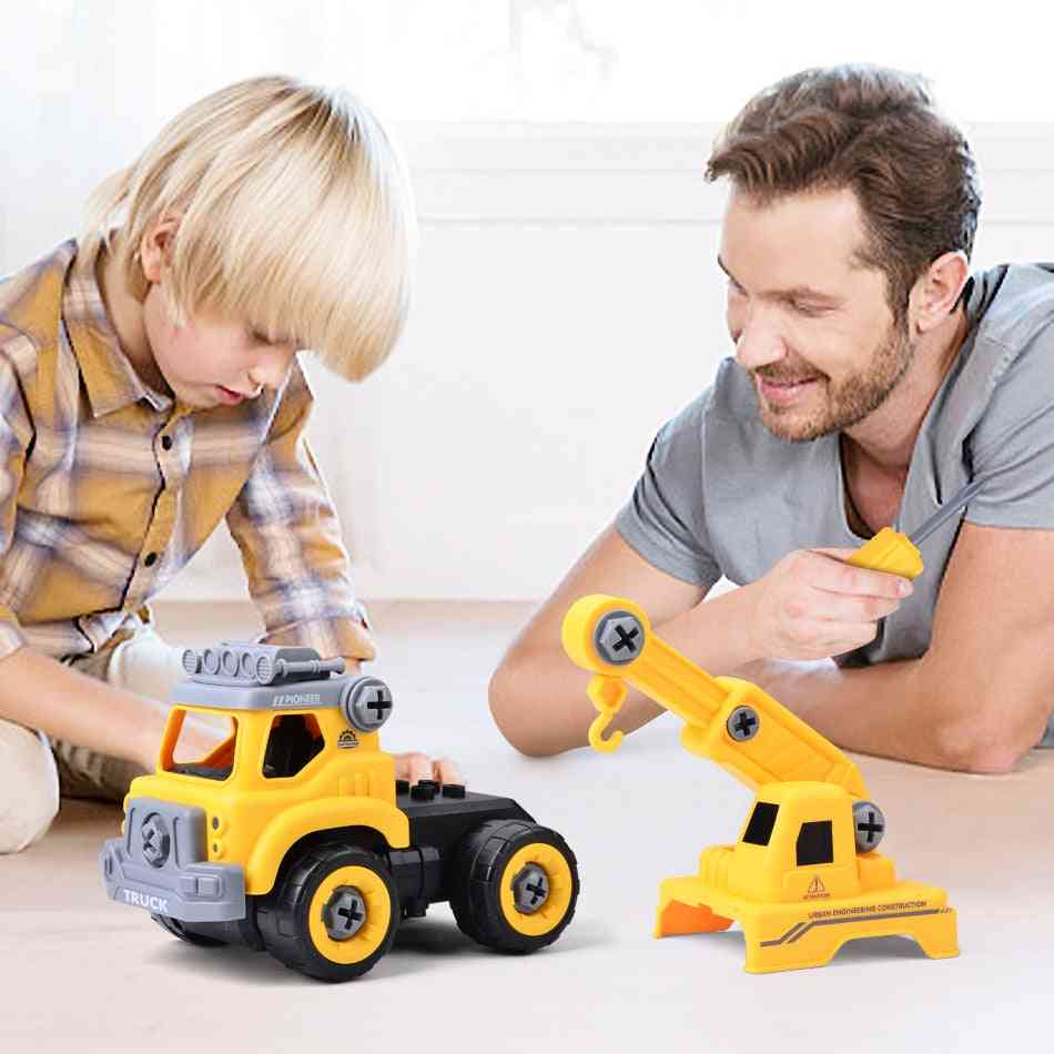 1set Assembled Dump Inertial Car Truck Excavator -mixer Roller Model Car Puzzle