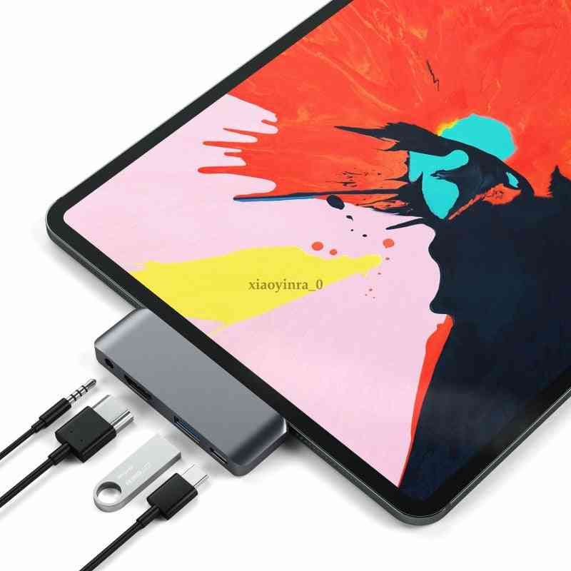 Aluminum Type-c 3.5 Mm For Mobile Ipad Pro Samsung Hub Adapter With Usb-c Pd Charging