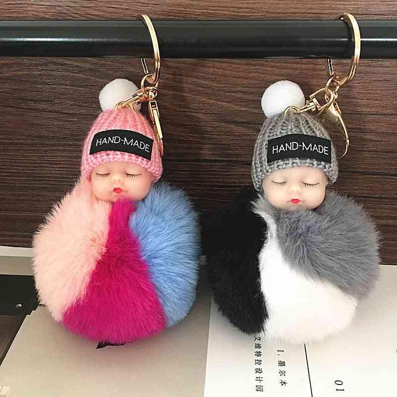 Cute Sleeping Baby Doll - Rabbit Fur Ball Plush Keychain Bag Pendant Toy