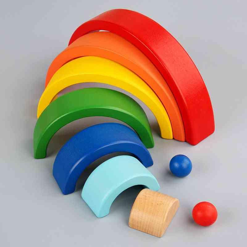Wooden Rainbow Building Blocks -montessori Toy