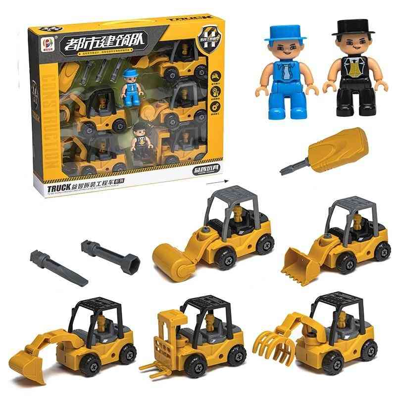 Engineering Car-truck Excavator And Bulldozer  Assembly Toy