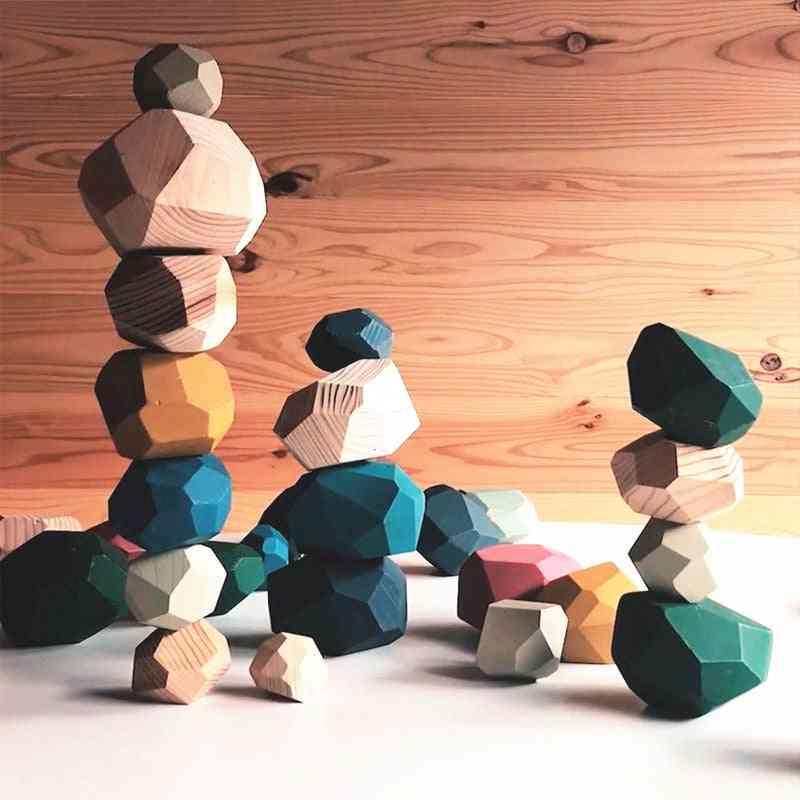 Wood Balancing Stacked Stones Rainbow Set Coloured  Wooden Rocks