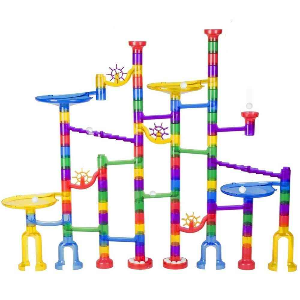 Set Of 122pc Large Size Marble Race Run Track -building Blocks For Kids