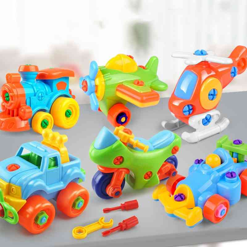 Cute Cartoon Disassembly Assembly Model Screwing Blocks Assemble Construction Airplane Trains Mode