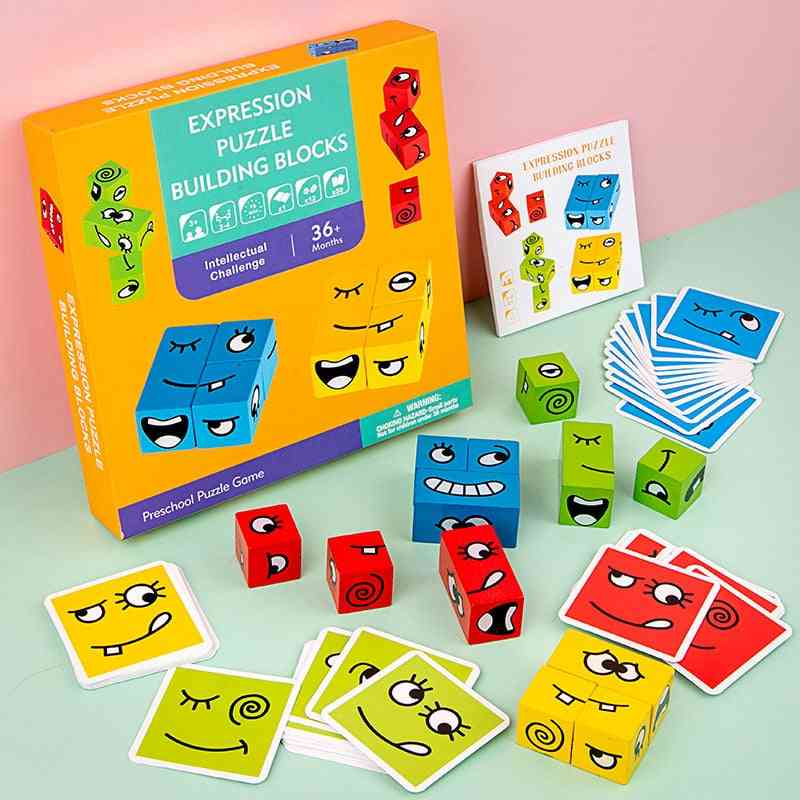 Expression Puzzles, Wooden Building Block And Cards For's Educational Learning