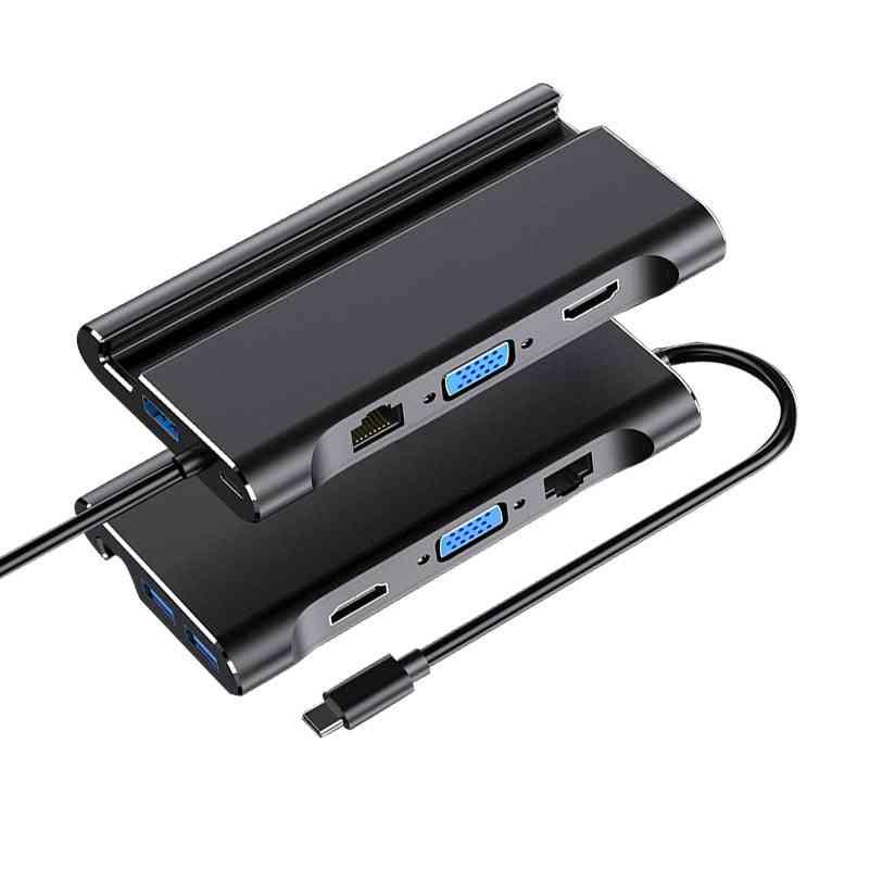 Type-c Laptop Docking Station, 3.0 Hdmi Vga Rj45 Pd - Usb Hub For Laptop