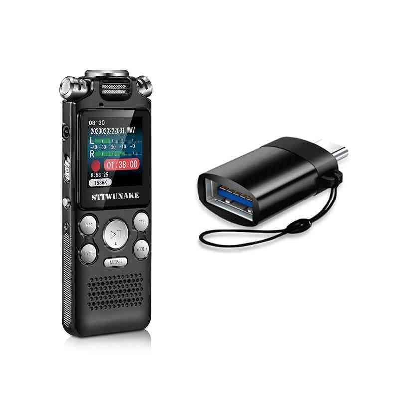 Portable, Digital Voice Recorder With Data Cable, Type-c Otg And Earphone