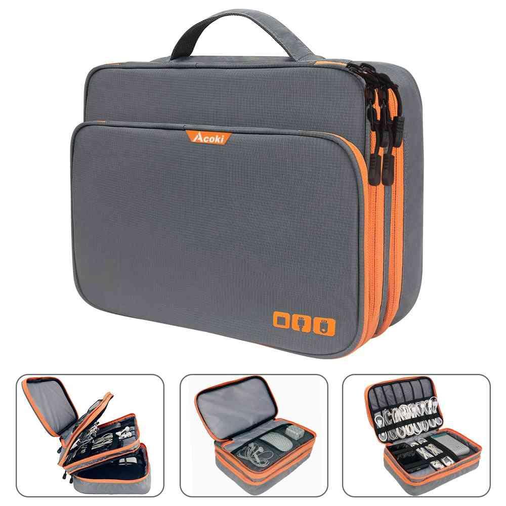 Three Layer Electronic Accessories Organizer, Storage Handbag With Front Pocket