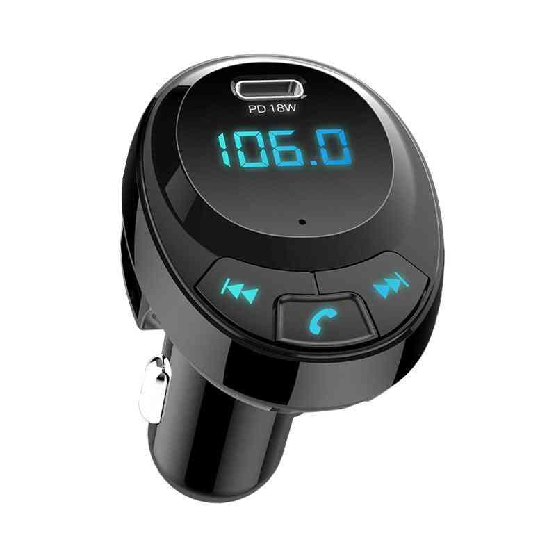 Dual Usb Smart Car Charger - Mp3 Bluetooth 5.0 Support Fast Charge