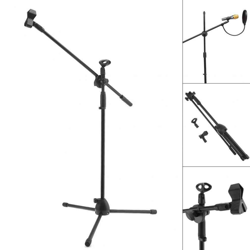 Professional Swing Boom Floor Metal Stand With Pop Filter