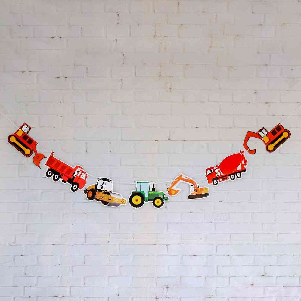 Happy Birthday Hanging Paper Banners Streamers Excavator Flags Kids Home Decor