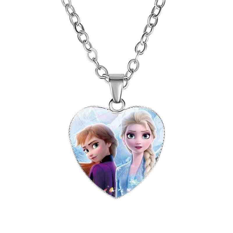 Disney Frozen 2 Love Necklace's Cartoon- Elsa Princess Anna Heart Shaped Pendant Girl