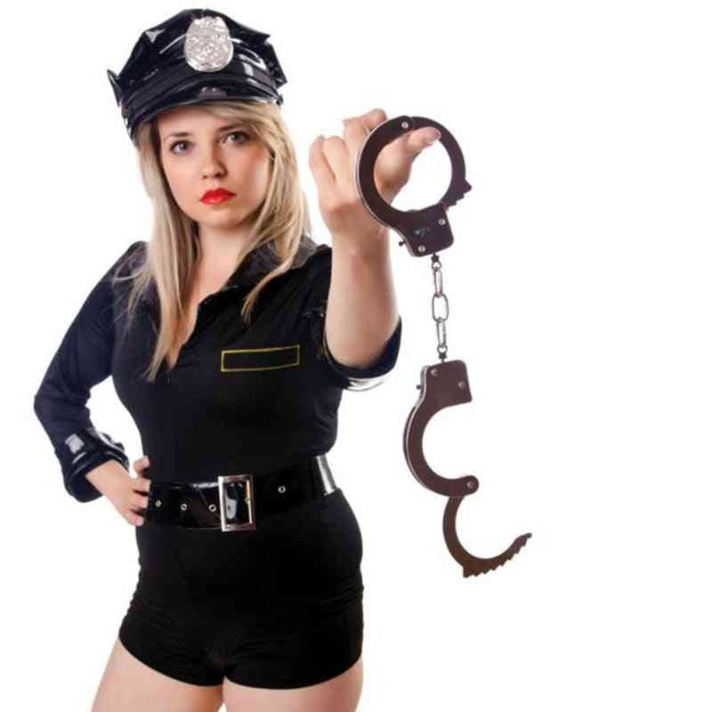 Pretend Play Silver Metal Hand Cuffs Cosplay With Keys