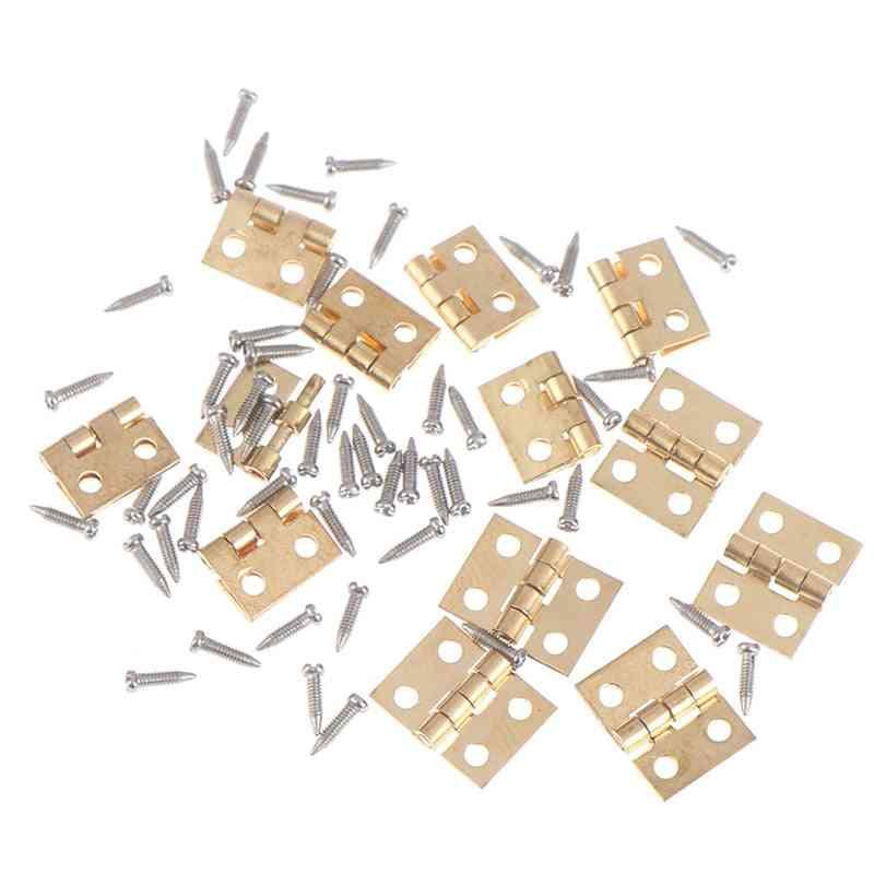 12 Set Of Mini Metal Hinge And Screws Doll House Miniature Furniture