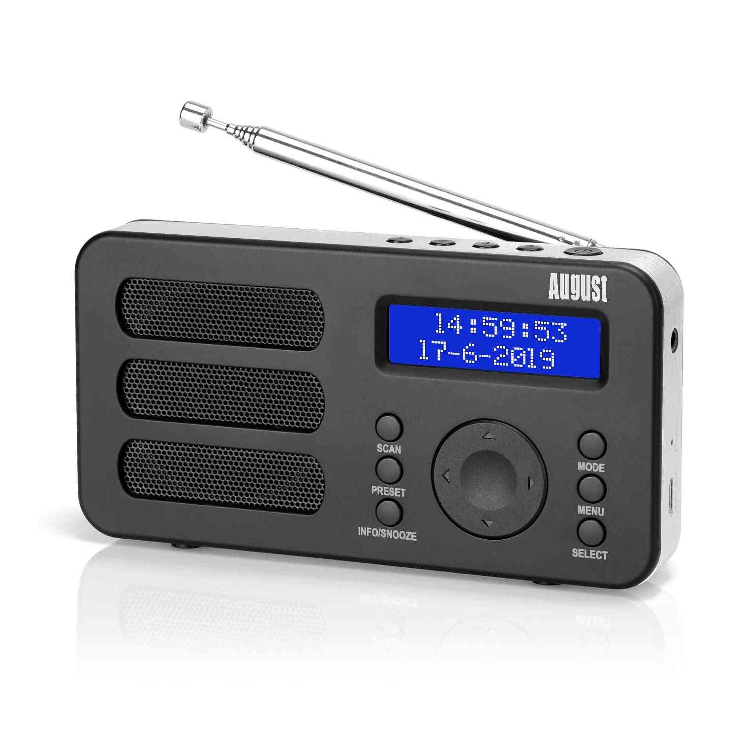 Portable Digital Radio Mb225, Dab, Dab+ Fm Rds Function With Dual Alarm Stereo,mono Speaker Rechargeable Battery With Lcd (mb225)