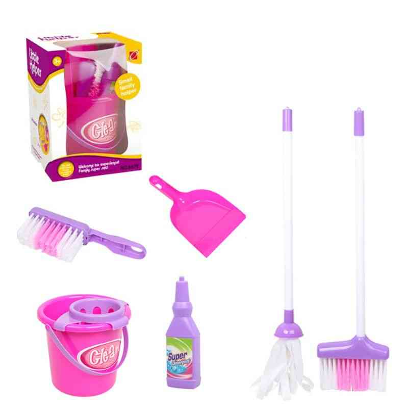 Role Play 6 Piece Broom Mop Bucket Dustpan - Cleaning Play Set