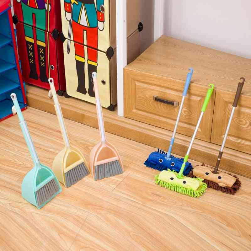 Mini Simulation Cleaning- Child Mop Broom & Dustpan Set Sweeping House Telescopic Tablet Drag