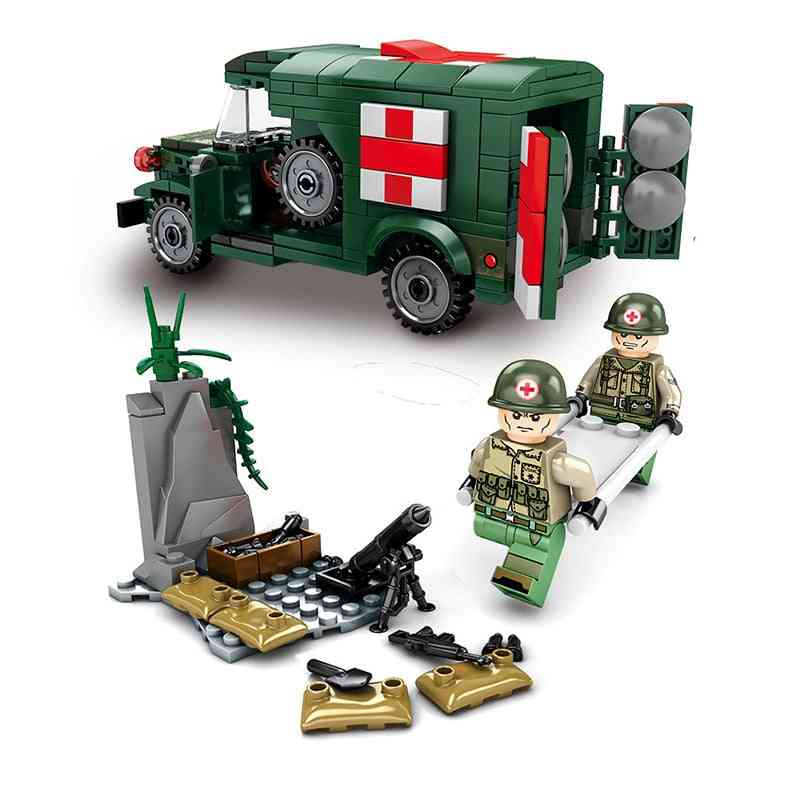 Military Ambulance Building Blocks Soldier Vehicle Army Truck For