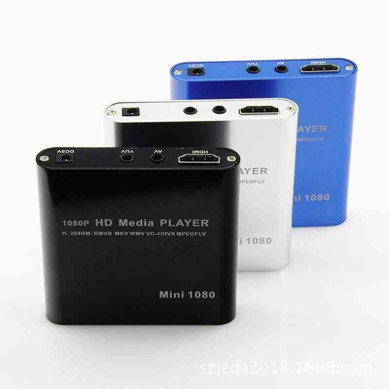 1080p, Full Hd Mini Media Player With Power Adapter And  Ir Remote Controller