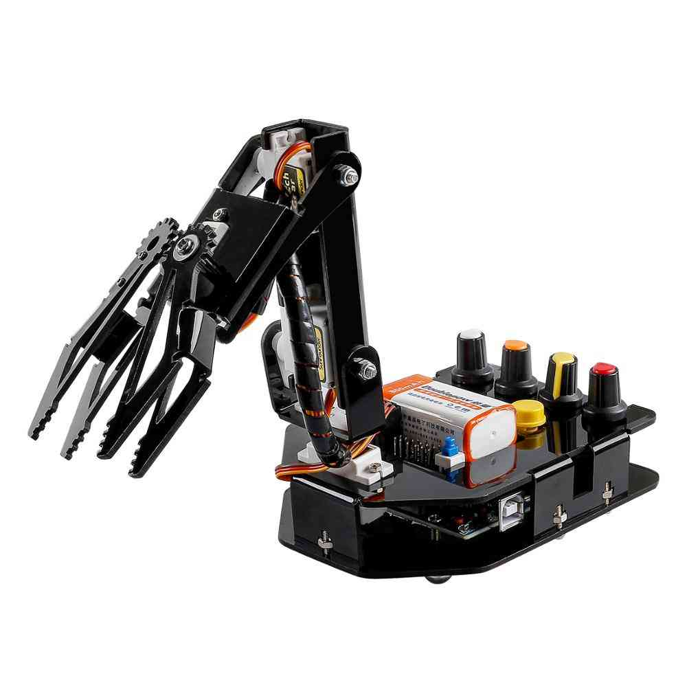 Rc Programmable Robot Elctronic Robotic Arm Kit 4-axis Servo Control Rollarm For Arduino For (black)