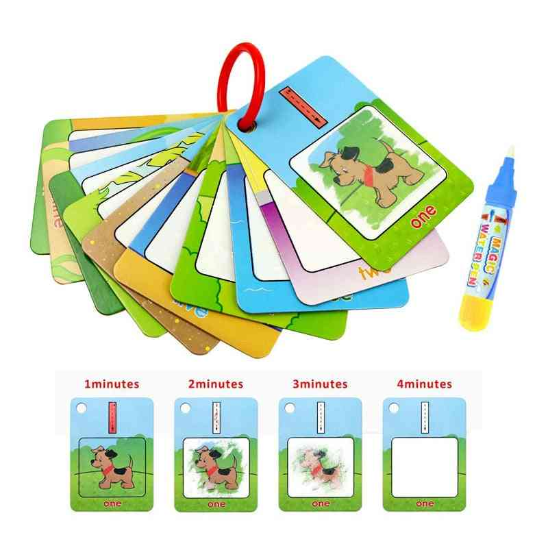 3 Types Reusable Water Drawing Learning Card & 1 Magic Pen Recognize Painting Board