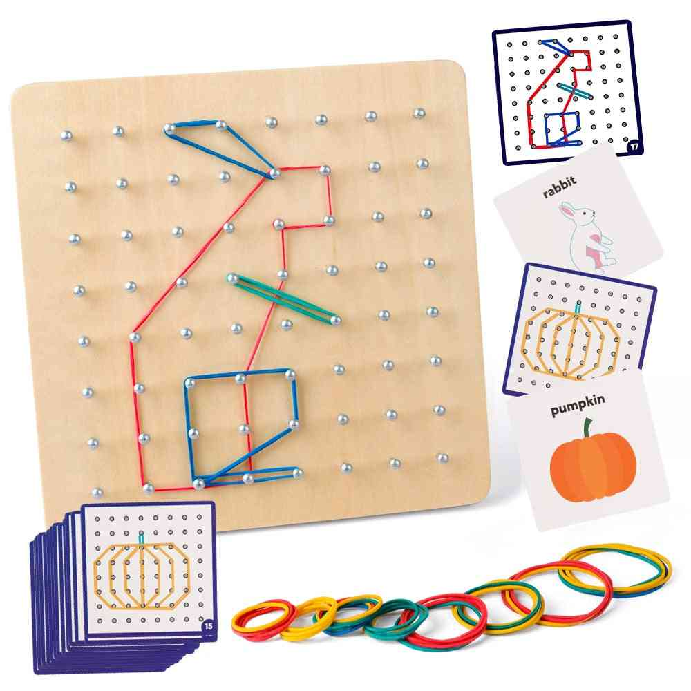 Wooden Geoboard Mathematical Manipulative Block Cards With Rubber Bands, Stem Puzzle For Kids