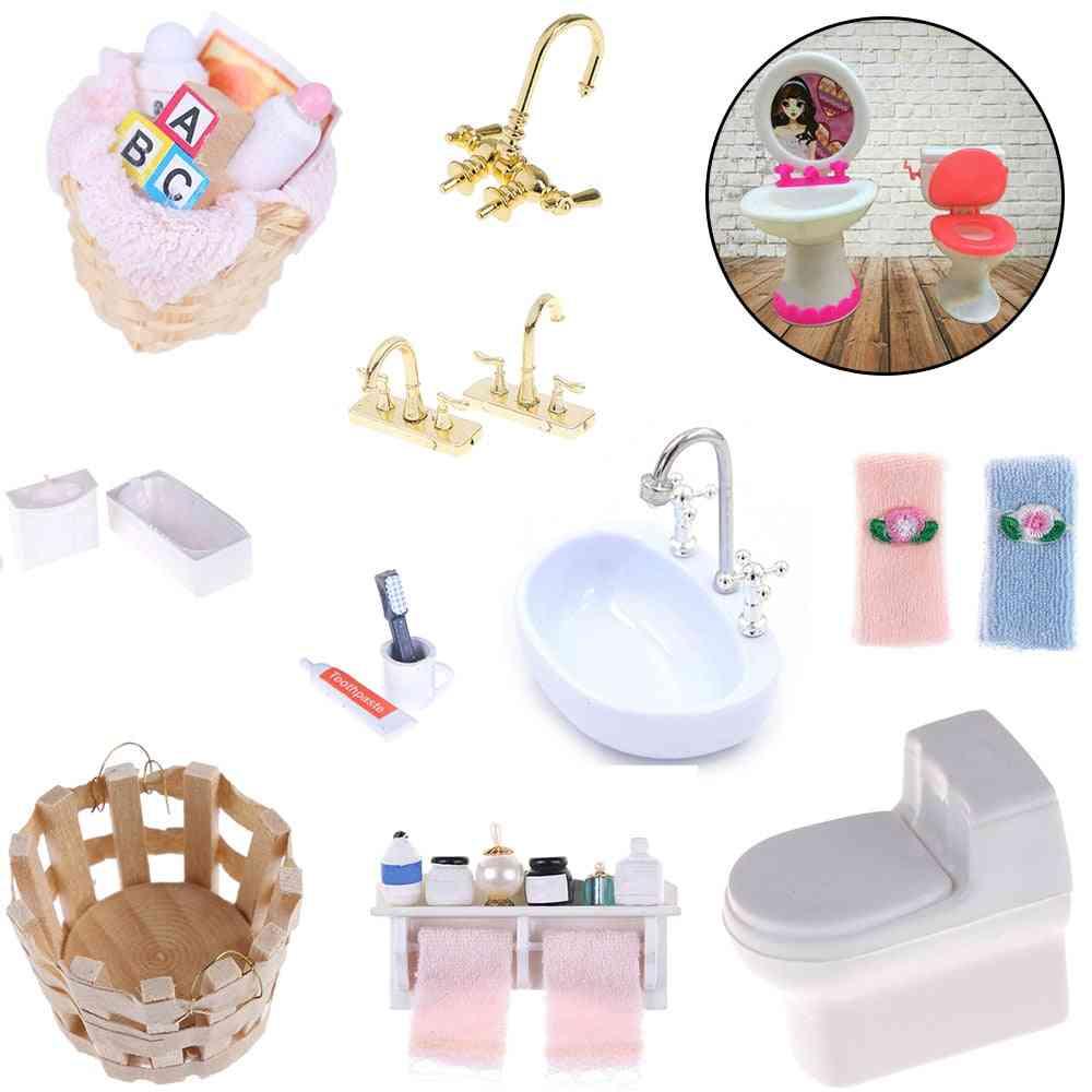 1/12 Diy Bathroom Furniture - Dollhouse Accessories