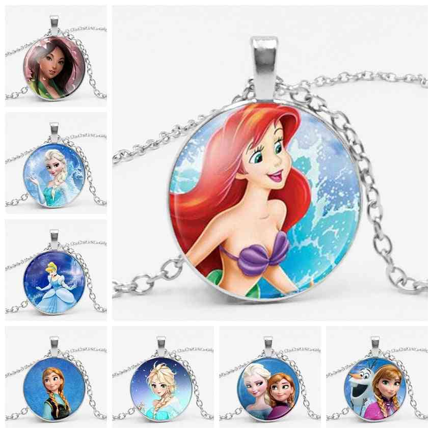 The Long Chain Jewelry Necklace, Crystal Cabochon Princess- Elsa Anna Snow Queen Pendant For
