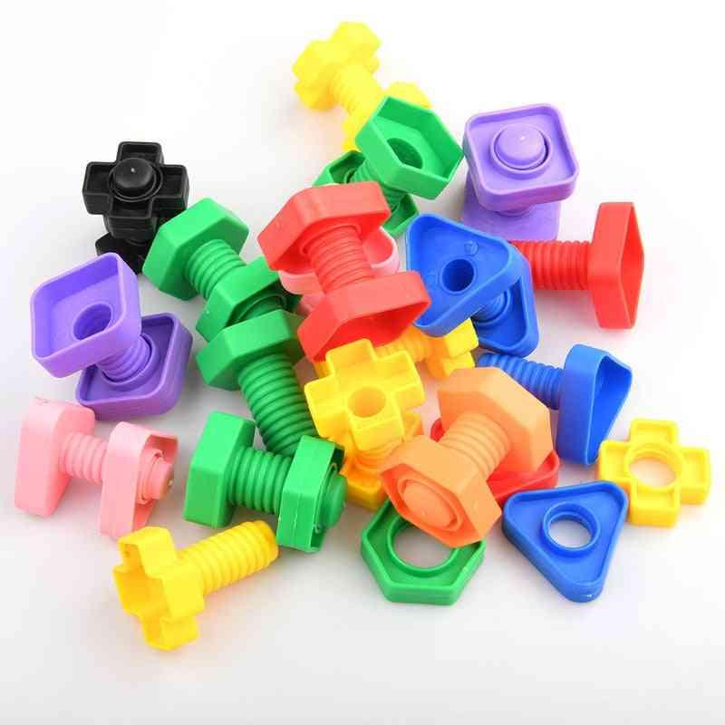 Screw-building-blocks, Nut-shape Match-puzzle (8pcs (4pair))