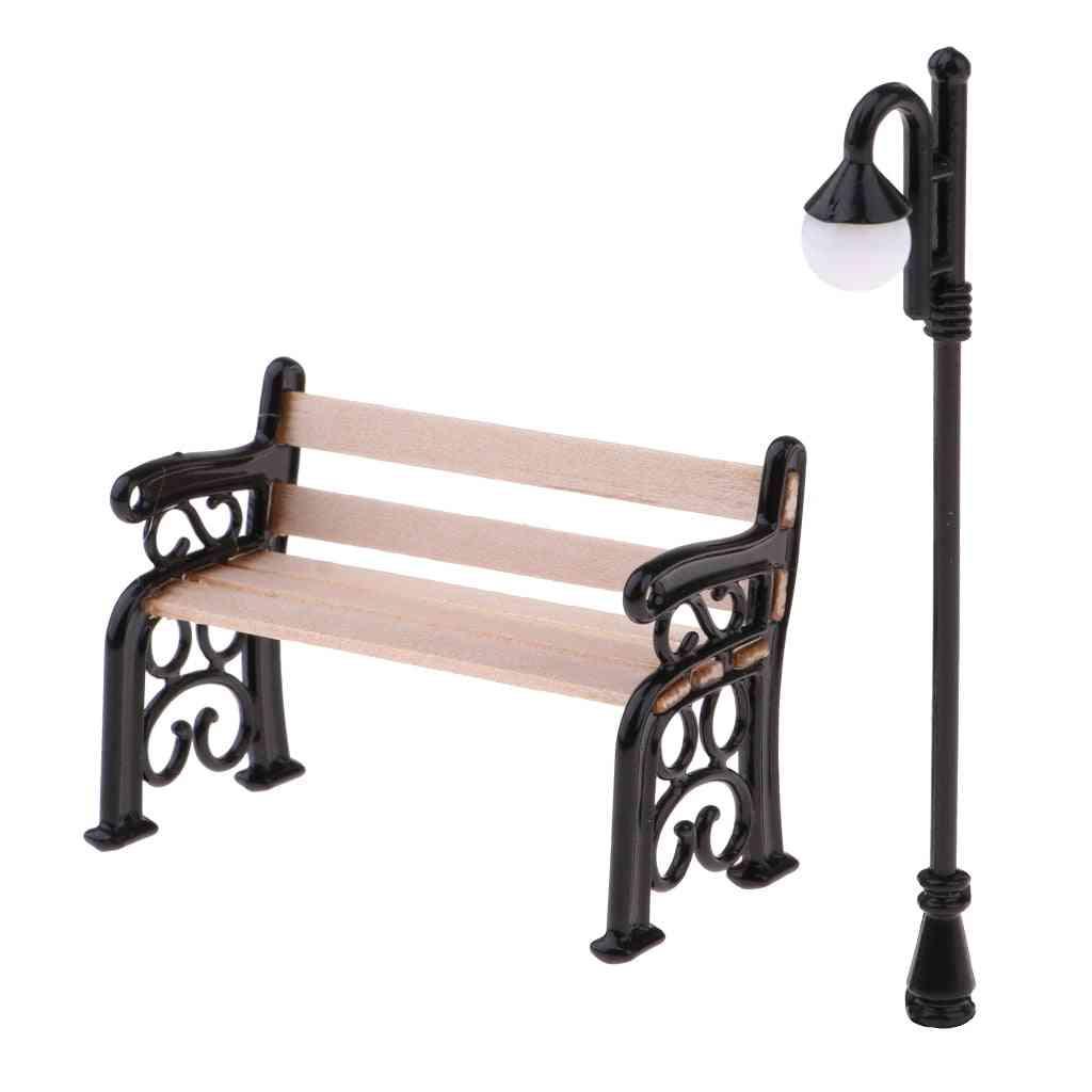 Wooden Park Bench & Street Lamp For 1/12 Dollhouse Garden Furniture Miniature Decor Toy