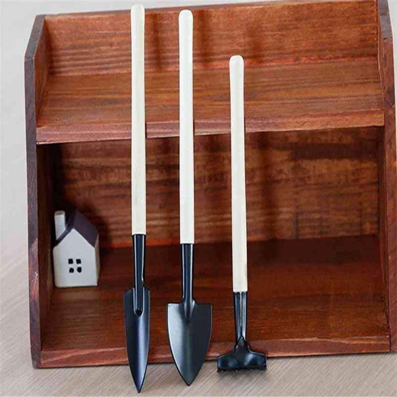 1 Set Mini Small Shovel Rake - Spade Wood Handle, Metal Head Kids Toy