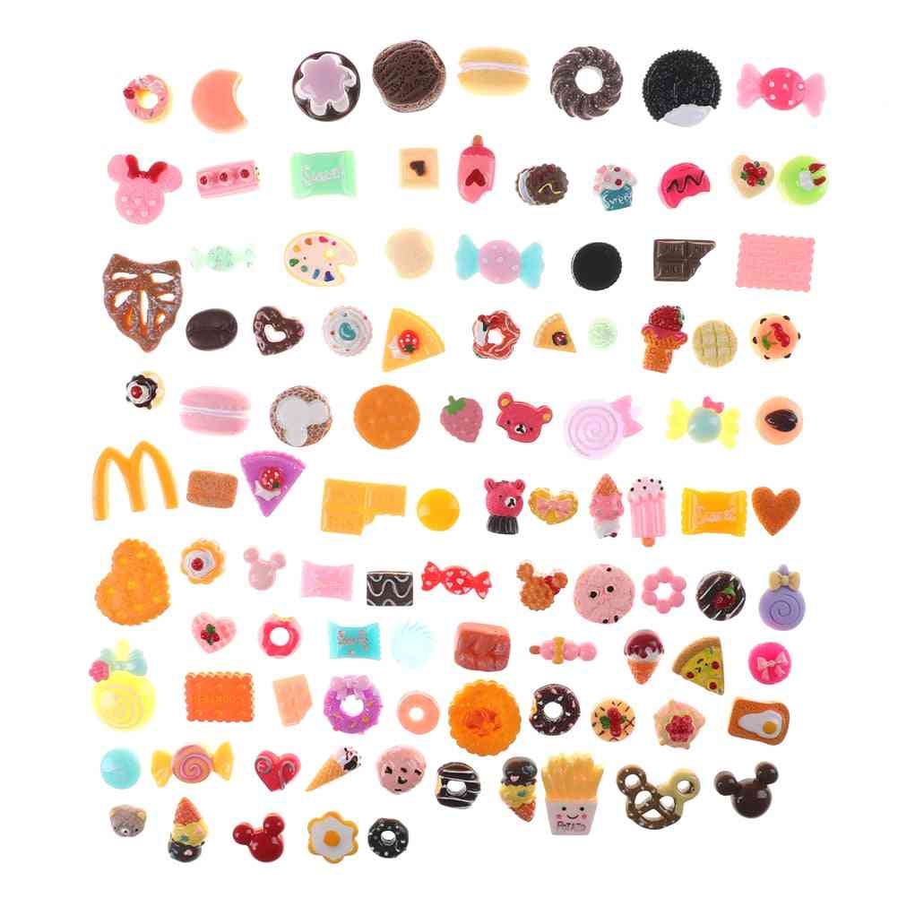 10pcs Mini Food Cakes, Donuts Biscuit Dollhouse Miniature Kitchen Decoration For Randomly