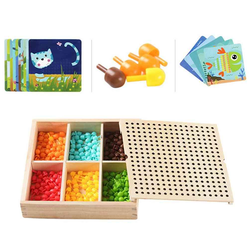 240pcs-3d-puzzle Games, Mushroom-nail  With Wood Storage Box,diy Educational