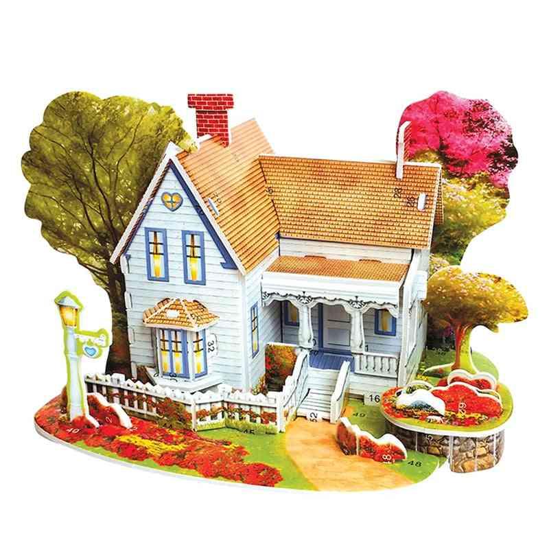 3d-puzzle-diy Building-construction-toys, Card-model Building-sets, Romantic- House Garden-trees For Kids