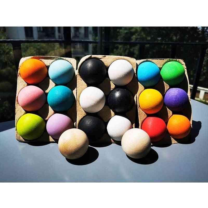 1pc Basswood, Rainbow Blocks, Matte Spherome-unpaint Ball - Early Learning  Wooden